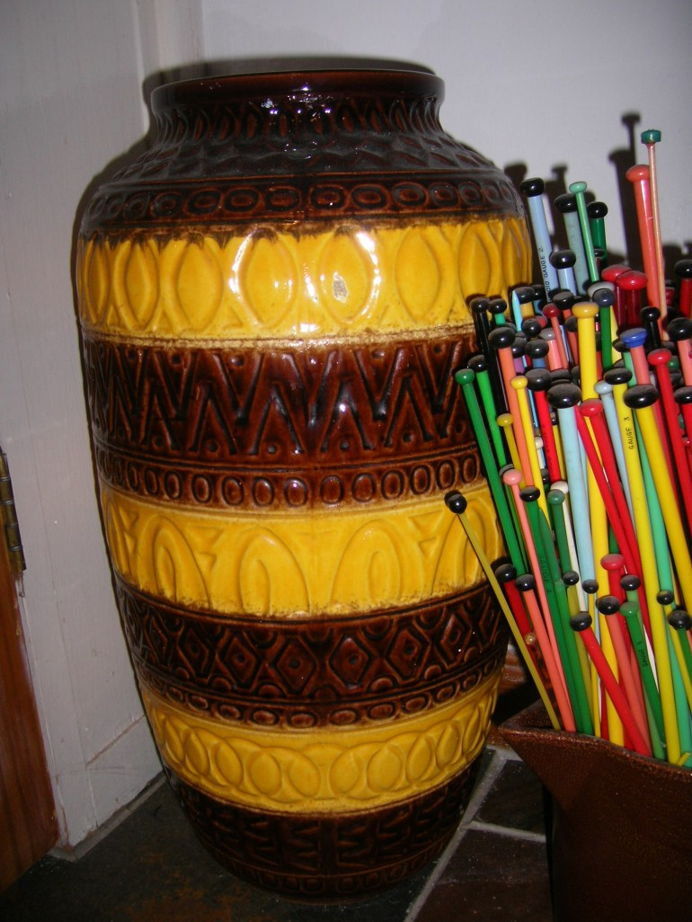 Giant two-foot tall Scheurich in brown and yellow.