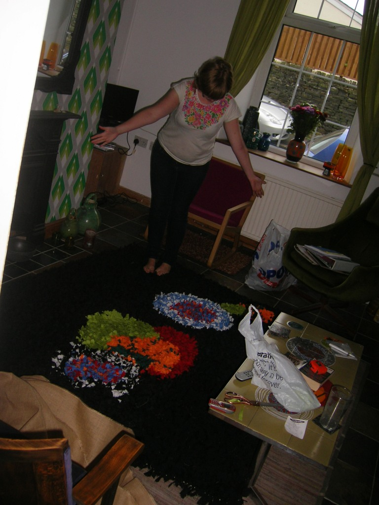 Me demoing the rug in situ...