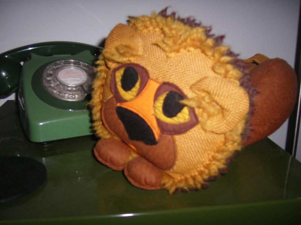 Kapok-Stuffed Lion guarding the telephone!