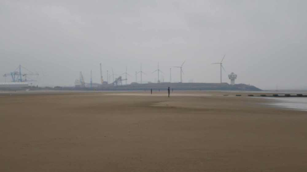 The view of Bootle and Liverpool at Crosby beach