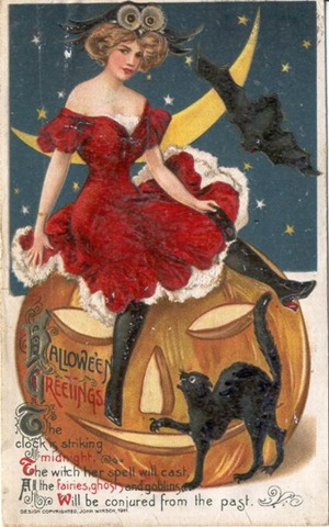 vintage-halloween-sexy-woman-pumpkin-black-cat-bat-card