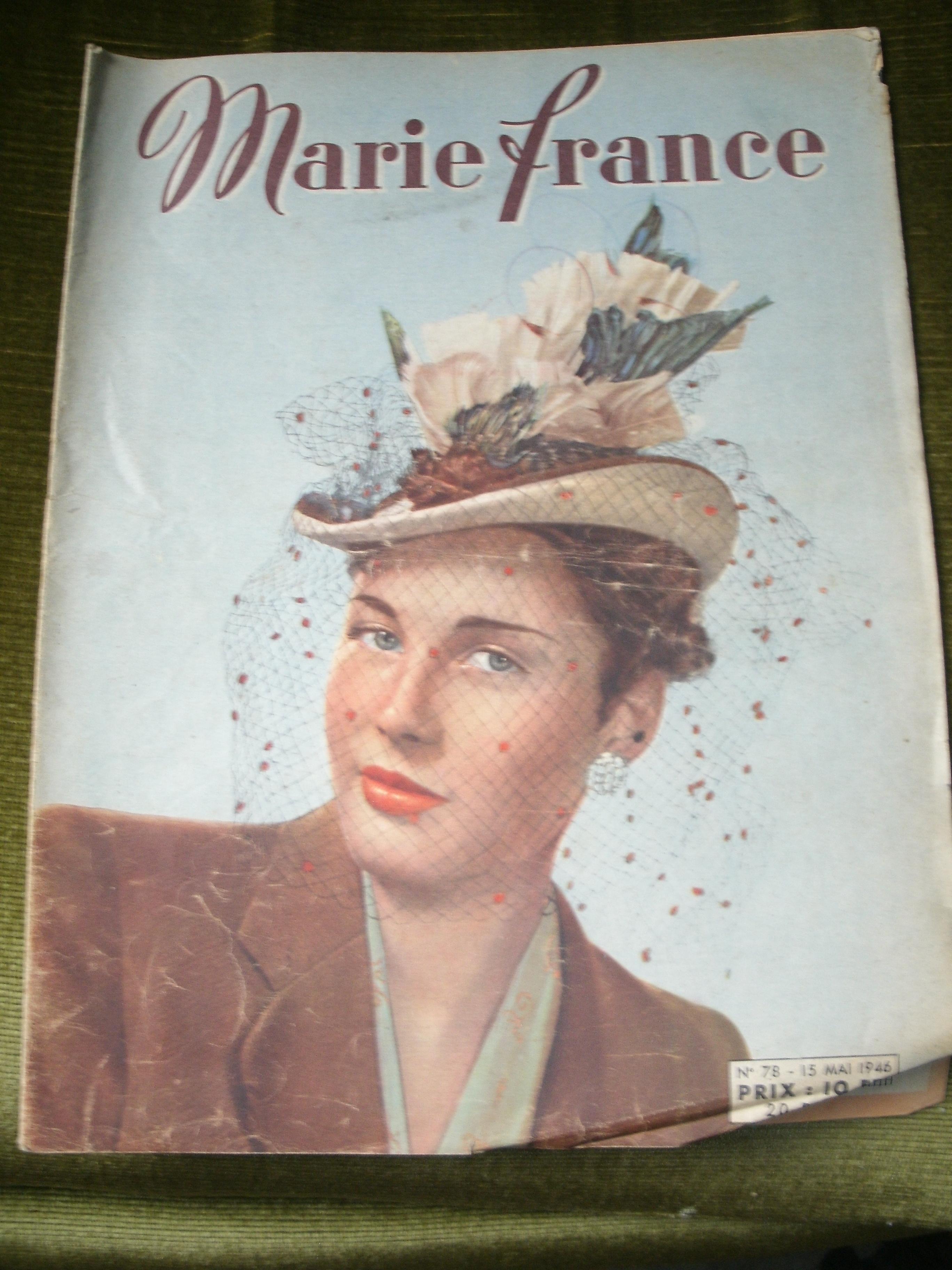 vintage marie france magazine no 78 1946 little owl ski. Black Bedroom Furniture Sets. Home Design Ideas