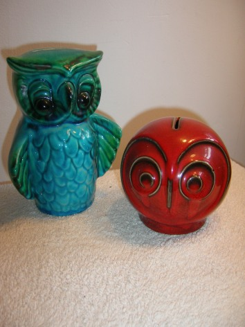 Retro Pottery Owls