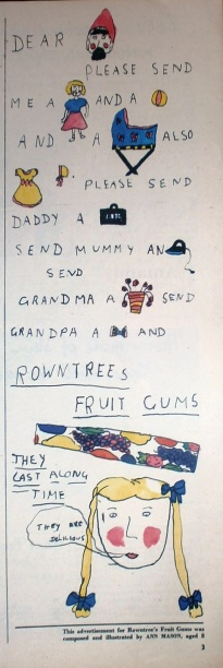 1950s Vintage Rowntrees Fruit Gums advert