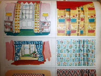 1950s curtains illustrations