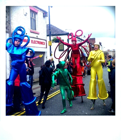 Stilt Walkers at the Olympic procession Ashton
