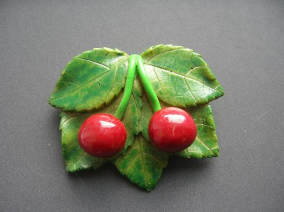 1950s Bakelite Cherries Brooch