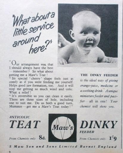 Vintage Maw's Dinky Teat Advert
