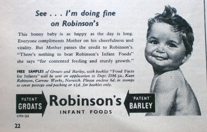 1950s Robinson's Infant Foods Advert