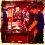 Aidan and James posing at the roulette machine