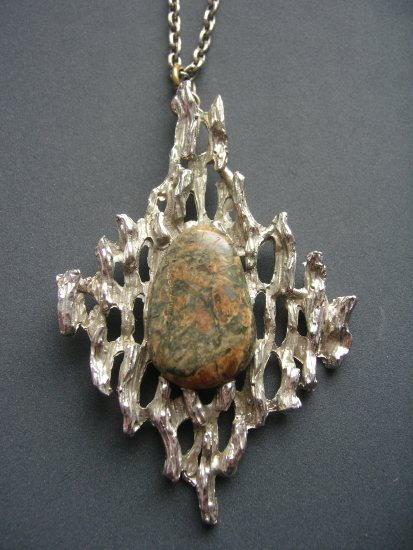 1960s or 1970s Metal and Stone Pendant Necklace