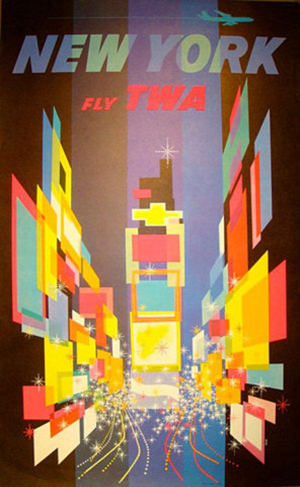 vintage travel poster new york us little owl ski. Black Bedroom Furniture Sets. Home Design Ideas