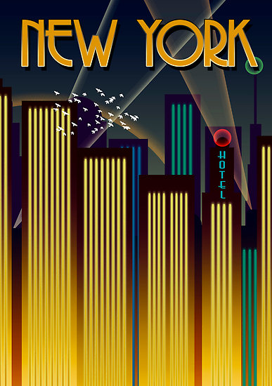 mid century new york travel posters little owl ski. Black Bedroom Furniture Sets. Home Design Ideas