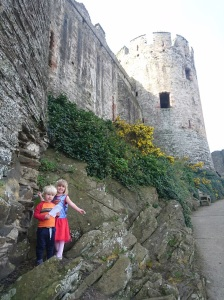 The kids at Conway Castle