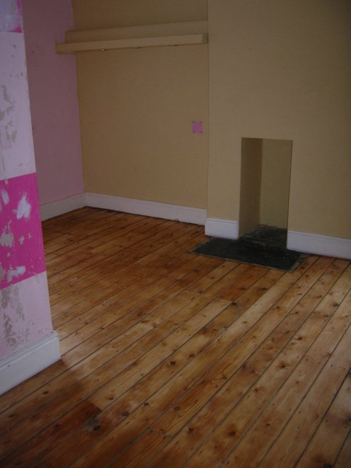 Floor done, but walls not stripped