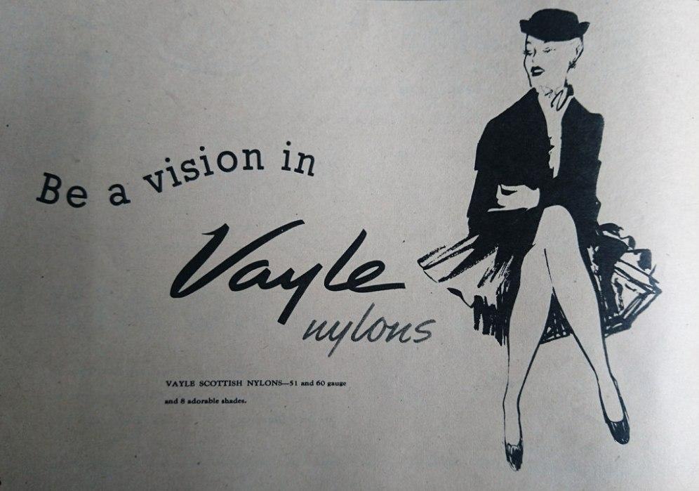 Vayle Nylons Vintage Hosiery Advert 1952